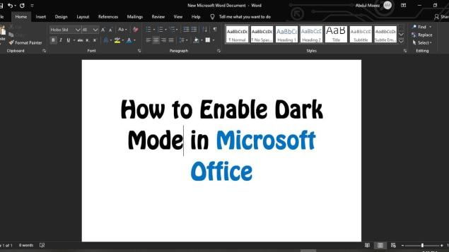Cách bật chế độ tối cho Microsoft Office